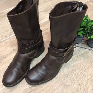 J. Crew Leather Mid Calf Boots w/ Zippered Back